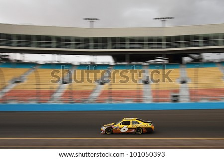 AVONDALE, AZ - OCT 4: David Ragan (6) takes laps during a NASCAR Sprint Cup track testing session on Oct. 4, 2011 at Phoenix International Raceway in Avondale, AZ.