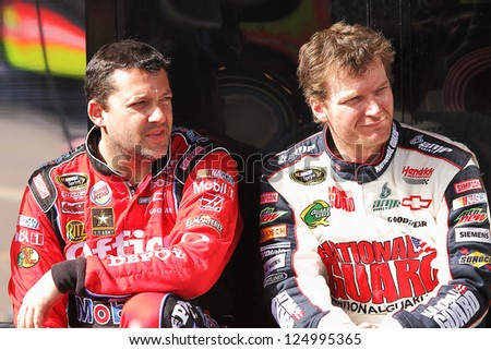 AVONDALE, AZ - OCT 5: Tony Stewart (left) and Dale Earnhardt Jr. (right) during a NASCAR Sprint Cup track testing session on Oct. 5, 2011 at Phoenix International Raceway in Avondale, AZ.