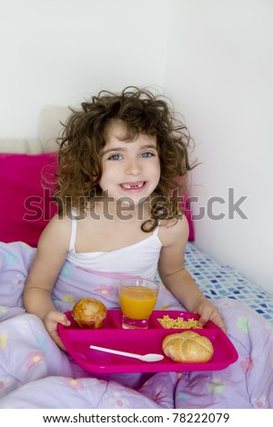 awakening bed breakfast brunette children girl messy hair
