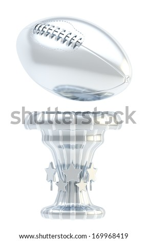 Award american football or rugby sport silver trophy cup isolated over white background