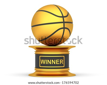 Award basketball trophy cup isolated on a white background - stock photo