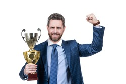 Award is created to celebrate. Happy director hold golden cup. Business achievement award. Celebrating success. Trophy and prestige. Got prize.