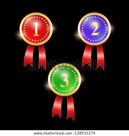 award labels with ribbons. vector shiny red, blue and green medals. raster version, vector file also available in gallery