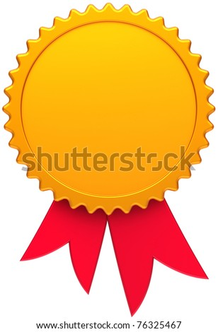 Award medal golden with red ribbon. Blank round copy-space design element. This is a high quality three-dimensional render 3d. Isolated on white background