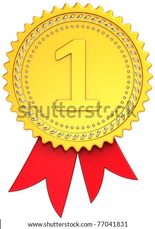 Award ribbon First place golden front view. Winner medal badge. Champion pride design element template classic. This is a high quality CG three-dimensional 3d render. Isolated on white background