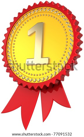 Award ribbon golden first place winner. Leadership pride medal badge. Champion design element template classic. This is a high quality CG three-dimensional 3d render. Isolated on white background
