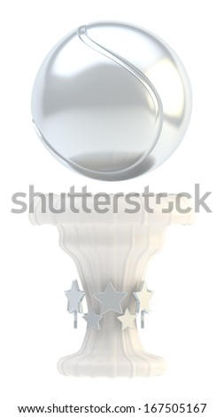 Award tennis ball sport silver trophy cup isolated over white background
