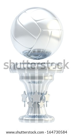 Award volleyball sport silver trophy cup isolated over white background