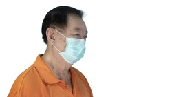 Awareness concept to ware mask, The oldman shown how correct way of using medical face masks to protect from coronavirus(covid-19), side view portrait isolated on white background.