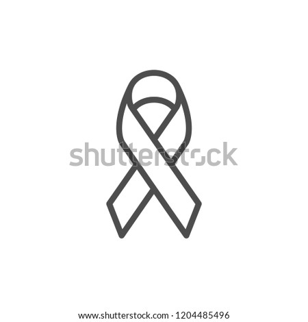 Awareness ribbon line icon isolated on white