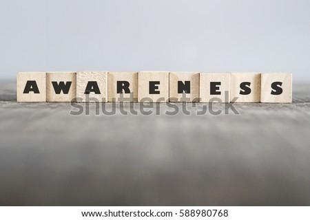 AWARENESS word made with building blocks