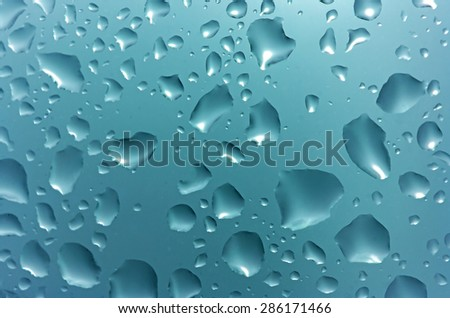 Awesome Abstract Natural Water Drops on Glass in Rainy Season Blue Filter