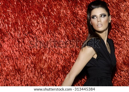 Stock Photo Awesome attractive sexy fashion model with stylish hairstyle, long legs, full lips, perfect skin, wearing short cocktail dress, standing near shiny red carpet, beauty photoshoot, retouched image