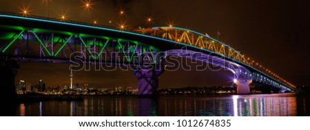 Awesome light show. Vector lights on Auckland Harbour Bridge Vector, North Island New Zeland. - Shutterstock ID 1012674835