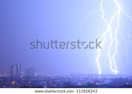 Awesome Lightning. Multiple bolts of lightning striking Mississauga, a large suburb of Toronto, Canada.