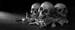 Awesome pile of three skull and bone on dark background in the morgue, Still Life style, selective focus and adjustment size and color fof banner, cover, header, background