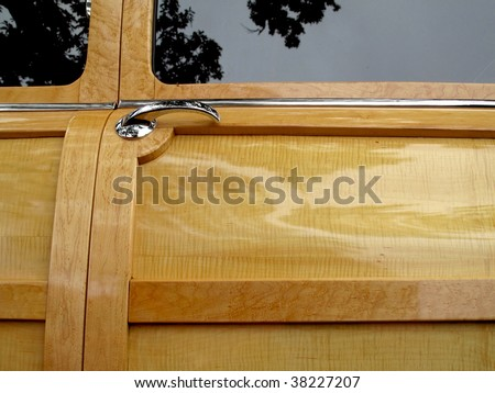 Awesome restoration of wood door panel on vintage car