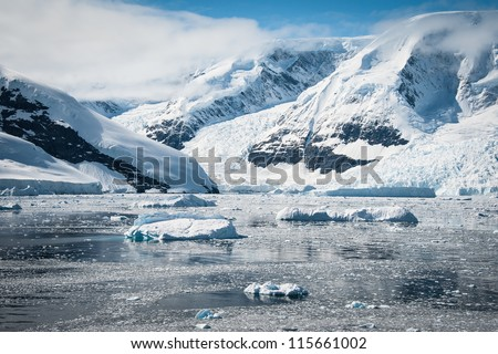 Awesome seascape in Antarctica, bright sunny day #115661002