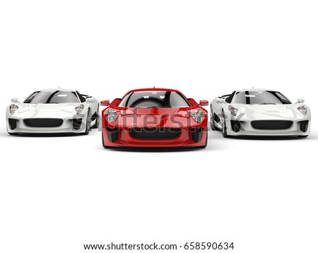 Awesome sports cars - red and white side by side - front view - 3D Illustration #658590634
