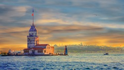 Awesome sunset Maiden's Tower in istanbul