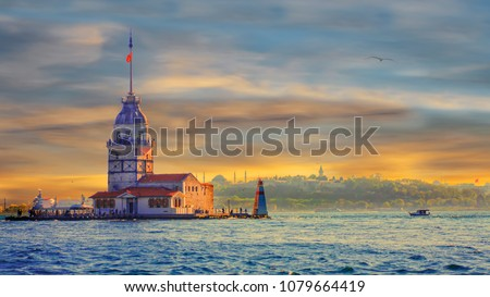 Awesome sunset Maiden's Tower in istanbul #1079664419
