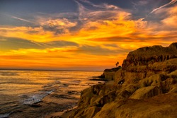 Awesome Sunset sky at San Diego - California during winter. Sunset cliffs