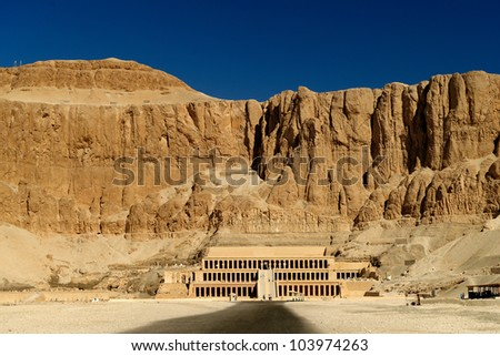 Awesome Temple of Queen Hatshepsut (1508-1458 BC), between the Valley of Kings and the Valley of Queens, in Luxor (Ancient Thebes), Egypt.