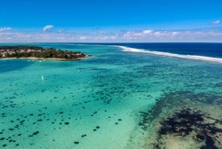 Awesome view from above to Blue bay in Mauritius.