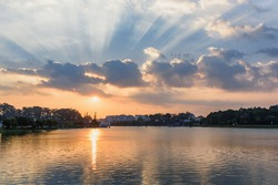Awesome view of the Xuan Huong Lake in the center of Dalat at sunset, Vietnam. Dalat (Da Lat) is a popular tourist destination of Asia.
