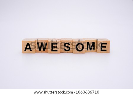 Awesome word on wooden cubes #1060686710