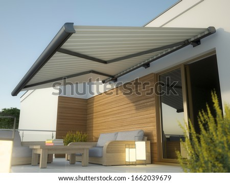 Awning and house terrace, 3D illustration Foto stock ©