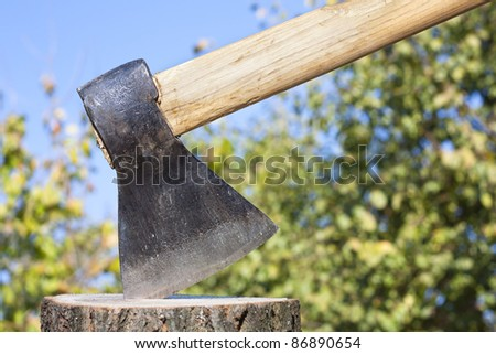 Axe or wood chopper with winter wood against a natural foliage background