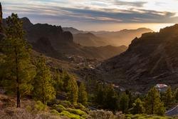 Ayacata gorge. Amazing sunset in Gran Canaria island.