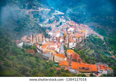 Ayna, population of the Sierra del Segura in Albacete Spain. Imposing villa located between the mountains and the river world that makes an orchard for this fertile area. Stok fotoğraf ©