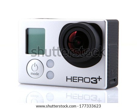 AYTOS BULGARIA FEBRUARI 17 2014 GoPro HERO3& Black Edition isolated on white background GoPro is a brand of high-definition personal cameras often used in extreme action video photography