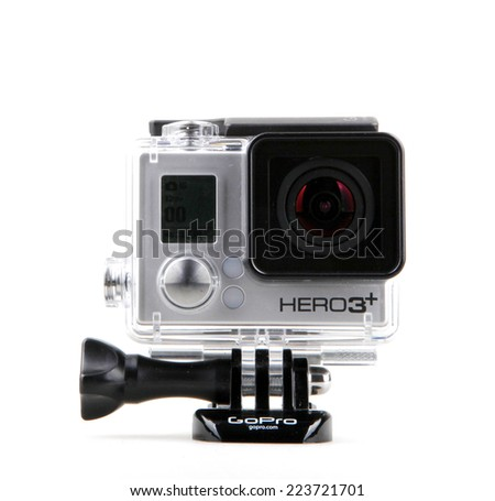 AYTOS BULGARIA OCTOBER 15 2014 GoPro HERO3& Black Edition isolated on white background GoPro is a brand of high-definition personal cameras often used in extreme action video photography