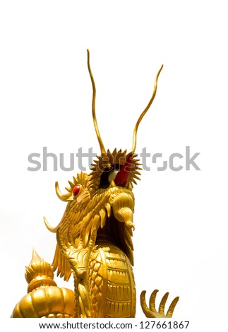 AYUDTHAYA, THAILAND - NOVEMBER 25: Chinese Dragon reaching the sky in Purple temple on November 25, 2012. This is the most beautiful statue in the temple and promoted for tourism in Chinese new year.