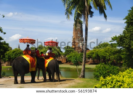 Ayutthaya destroyed temple and elephant with tourists