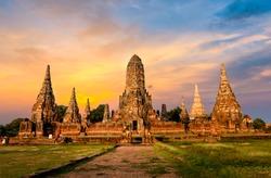 AYUTTHAYA, THAILAND  many Tourists from around the world in wat chaiwattanaram, Thailand grand palace. Ayutthaya Thailand. Ayutthaya famous sightseeing place