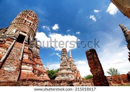 AYUTTHAYA-THAILAND- MAY 13 : Ruins of the monastery, ruins of the old pagoda, ruins Buddha statue & area in The old temple on May 13, 2014, Ayutthaya Province, Thailand