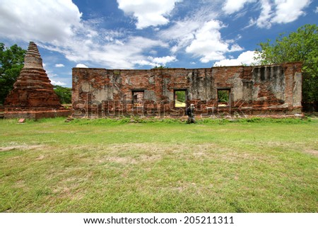 AYUTTHAYA-THAILAND-MAY 13 : Ruins of the monastery, ruins of the old walls & Buddha statue in The old temple on May 13, 2014, Ayutthaya Province, Thailand