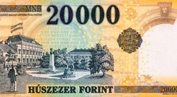 Az Ideiglenes Magyar Kepviselohaz Pesten (The Provisional Assembly of Hungary in Budapest) building with flag, trees, strolling couples, and statue of bust. from Hungary 20000 Forint 2004 Banknotes.