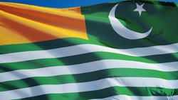 Azad Kashmir flag waving against clean blue sky, close up, isolated with clipping mask alpha channel transparency