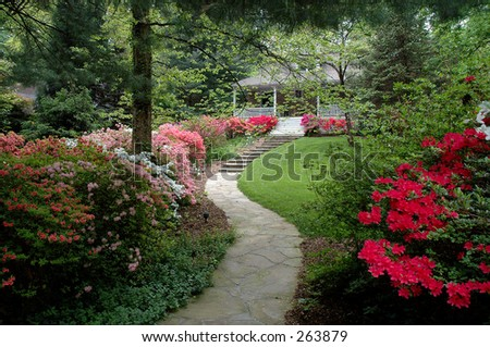 Azalea-lined path leading to Victorian house