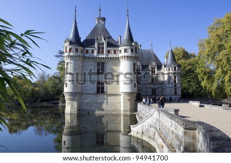 Azay-le-Rideau castle, Loire Valley, France. This castle was built in the XVIth century on an island among the Indre river.
