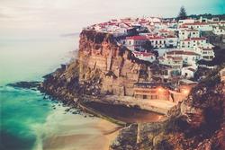 Azenhas do Mar stunning village built on a rock on the atlantic coast near Lisbon, Portugal