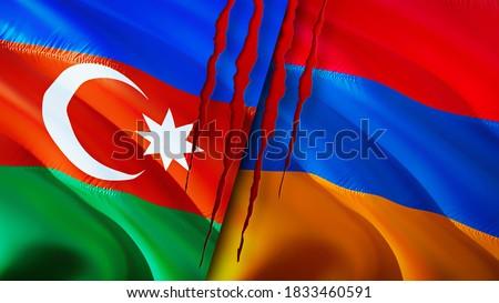 Azerbaijan and Armenia flags with scar concept. Waving flag,3D rendering. Azerbaijan and Armenia conflict concept. Azerbaijan Armenia relations concept. flag of Azerbaijan and Armenia crisis,war