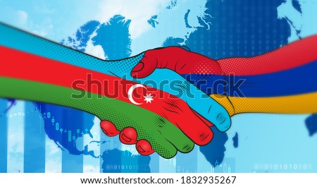 Azerbaijan and Armenia make an arrangement. Handshake Azerbaijan and Armenia. Azerbaijan–Armenia relations.