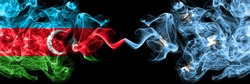 Azerbaijan, Azerbaijani vs Micronesia, Micronesian smoky mystic flags placed side by side. Thick colored silky abstract smoke flags