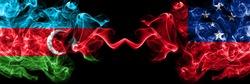 Azerbaijan, Azerbaijani vs Samoa, Samoan smoky mystic flags placed side by side. Thick colored silky abstract smoke flags